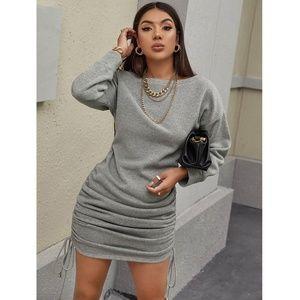 Casual Sweatshirt Mini Dress Drawstring Sides